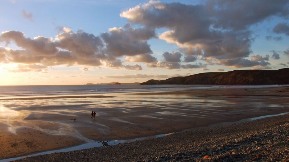 Newgale Beach, Pembrokeshire evening light on the sand