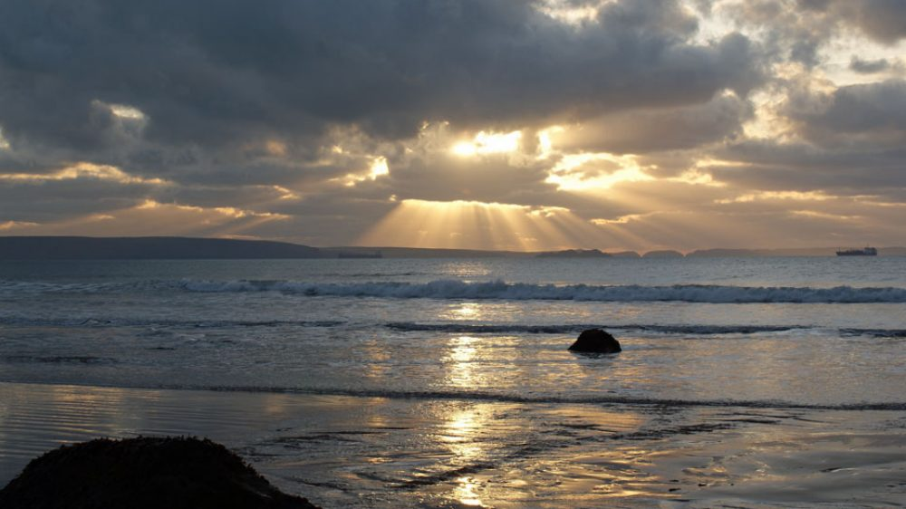 Newgale Beach, Pembrokeshire - last of the sunshine