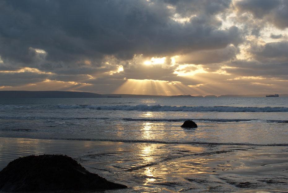 Newgale Beach, Pembrokeshire - last of the sunshine