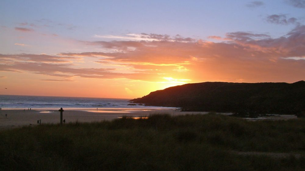 Spectacular sunset over Freshwater West Beach, Pembrokeshire